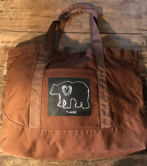 Bear (block print) Tahoe Cotton Canvas Beach/Market Tote