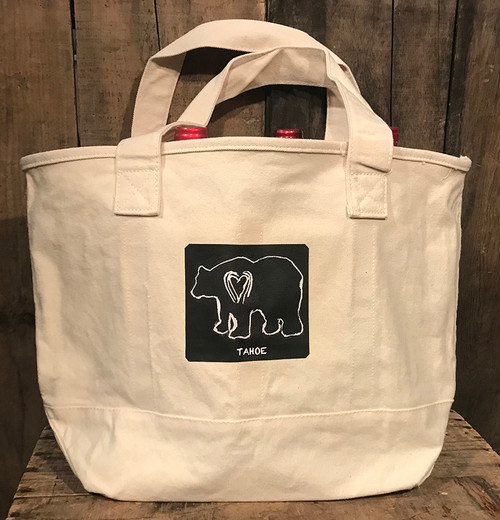 Bear (Block Print) Tahoe Cotton Canvas Wine/Growler/Picnic Bag/tote