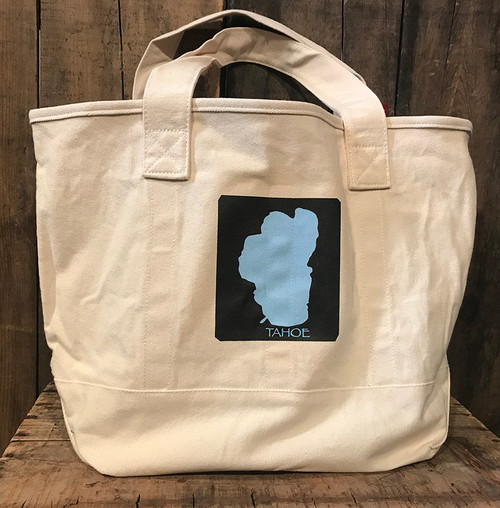 Lake Tahoe Cotton Canvas Wine/Growler/Picnic Bag Tote