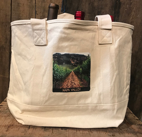 Napa Valley Vineyard Cotton Canvas Wine/Growler/Picnic Bag/Tote