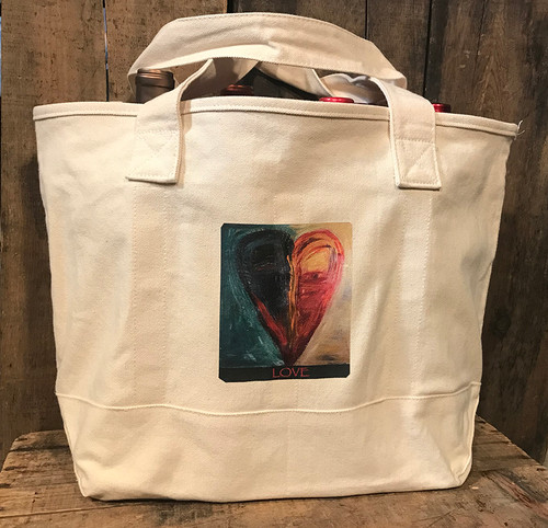 Night & Day Heart Cotton Canvas Wine/Growler/Picnic Bag/Tote