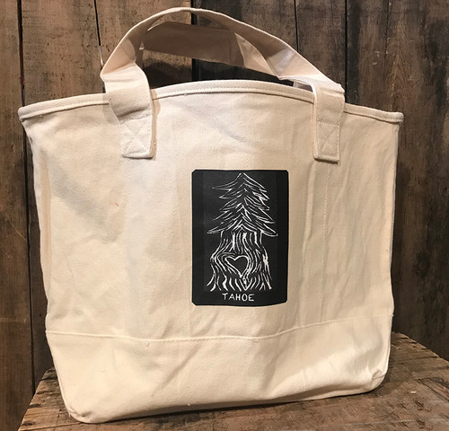 Pine Tree with Heart Tahoe (Block Print) Cotton Canvas Wine/Growler/Picnic Tote Bag