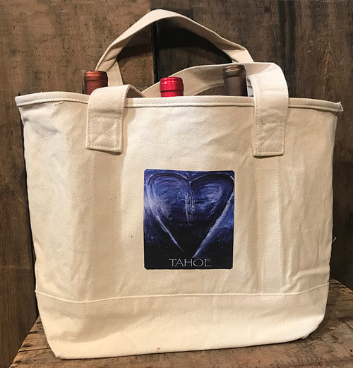 Blue Heart In Tahoe Cotton Canvas Wine/Growler/Picnic Tote Bag