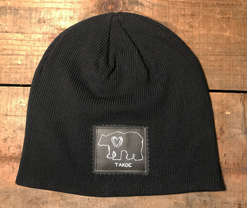 Bear (block print) Tahoe Organic Cotton Beanie Hat