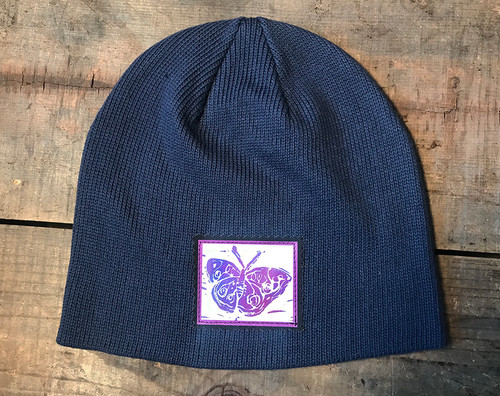 Butterfly (block Print) Organic Cotton Beanie Hat
