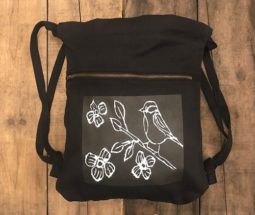 Bird with Blossoms (Block Print) Boho Cotton Canvas Backpack