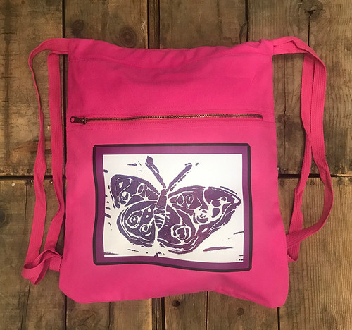 Butterfly (block print) Boho Cotton Canvas Cinch Backpack