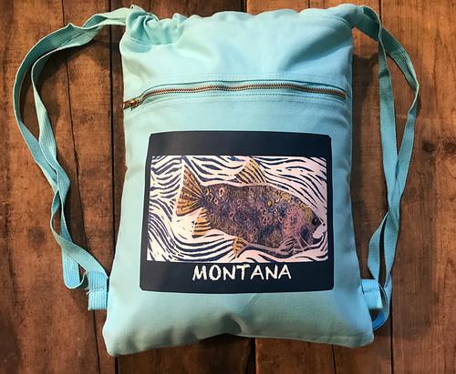 Fish (Block Print) Montana Boho Cotton Canvas Backpack