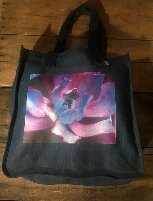 Purple Pearl Succulent Hemp Tote