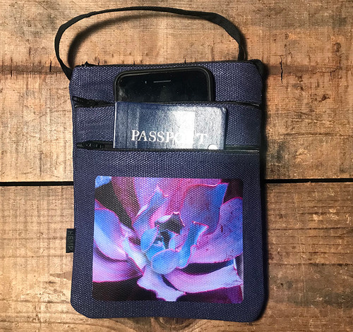 Purple Pearl Succulent Hemp 3 Zip Cross Body Bag/Purse