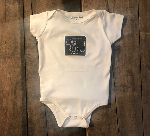 Bear (Block Print) Tahoe Certified Organic Cotton Onesie/One Piece