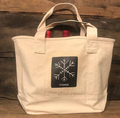 Snowflake Tahoe (Block Print) Cotton Canvas Wine/Growler/Picnic Tote Bag