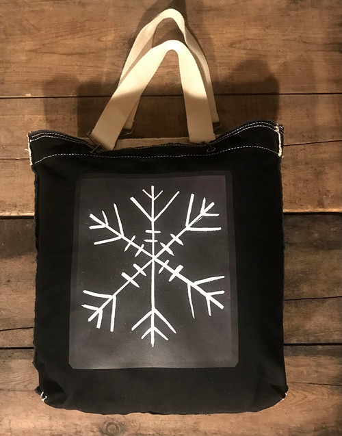 Snowflake (Block Print) Cotton Canvas Girly Tote/Purse
