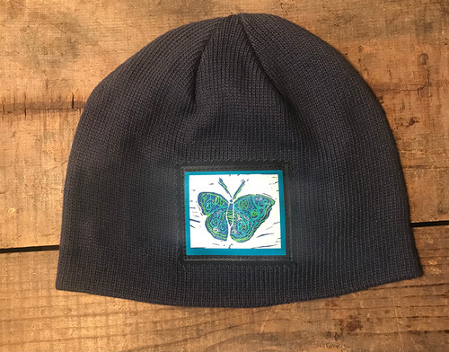 Blue Butterfly Organic Cotton Beanie Hat
