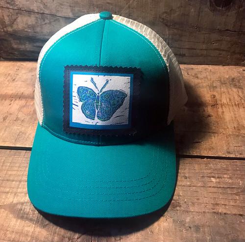 Blue Butterfly Keep on Truckin' Organic Cotton Trucker Hat