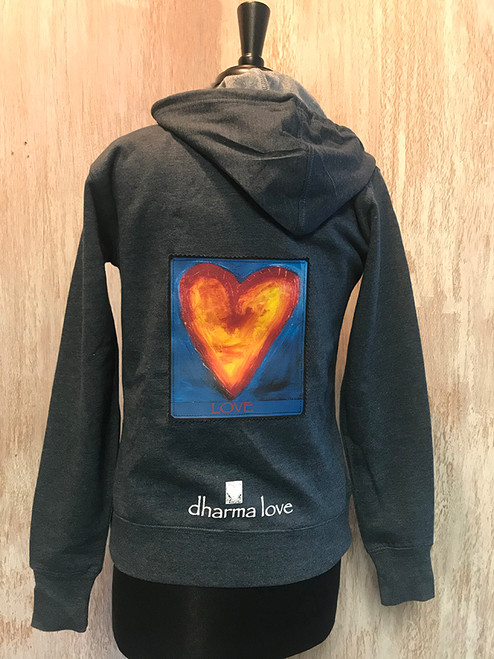 Corazon del Sol (Heart of the sun) Women's Dharma Bum Organic Cotton/Recycled Polyester Full Front Zip Sweatshirt Hoodie
