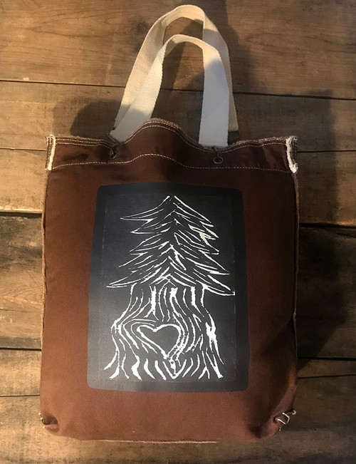 Pine Tree with Heart (Block Print) Cotton Canvas Girly Tote Purse