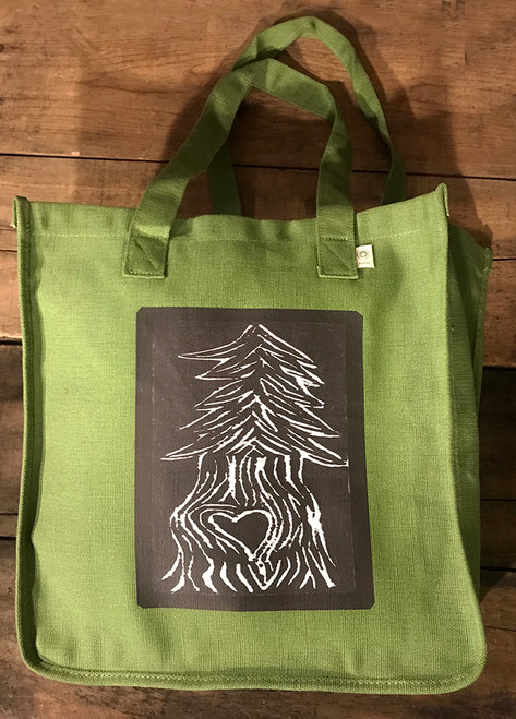 Pine Tree with Heart (block print) Hemp Tote