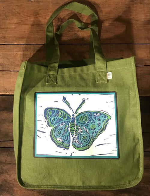 Blue Butterfly (block print) Hemp Tote