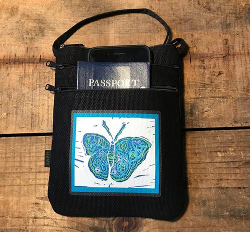 Blue Butterfly (block print) Hemp 3 Zip Cross Body Bag