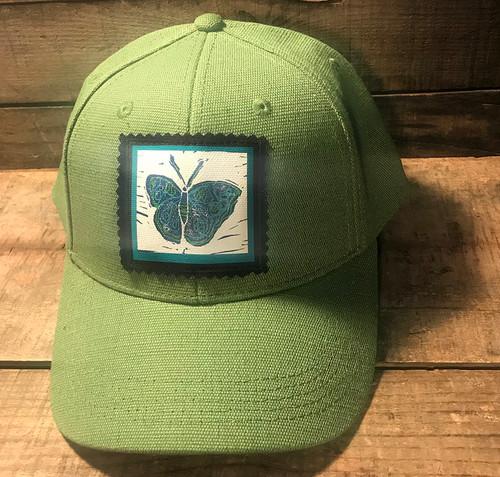 Blue Butterfly (Block Print) Hemp Baseball Hat