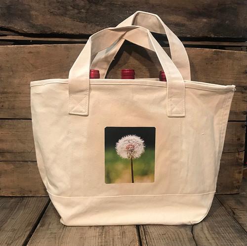 Make a wish (Dandelion) Cotton Canvas Wine/Growler/Picnic Tote Bag