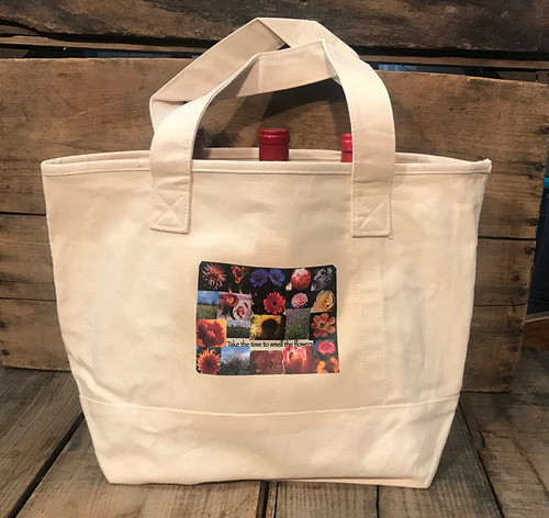 Take Time To Smell The Flowers Cotton Canvas Wine/Growler/Picnic Tote Bag