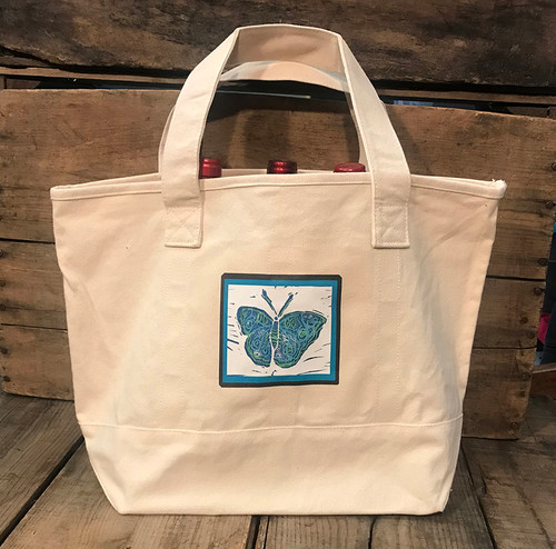 Blue Butterfly (Block Print) Cotton Canvas Wine/Growler/Picnic Tote Bag
