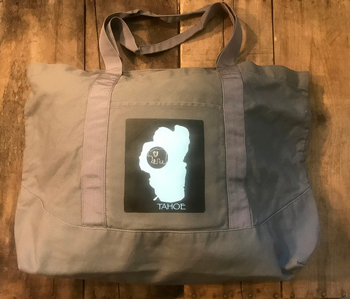 Lake Tahoe with Bear Cotton Canvas Beach/Market Tote Bag