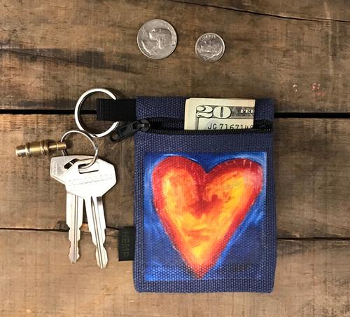 Corazon del sol (heart of the sun) Hemp Key Coin Purse/Pouch