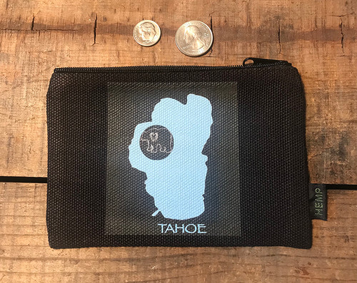 Lake Tahoe with Bear Medium & Large Hemp Coin Purse Pouch