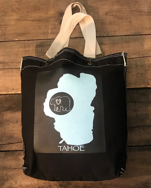 Lake Tahoe with Bear Cotton Canvas Girly Tote/Purse