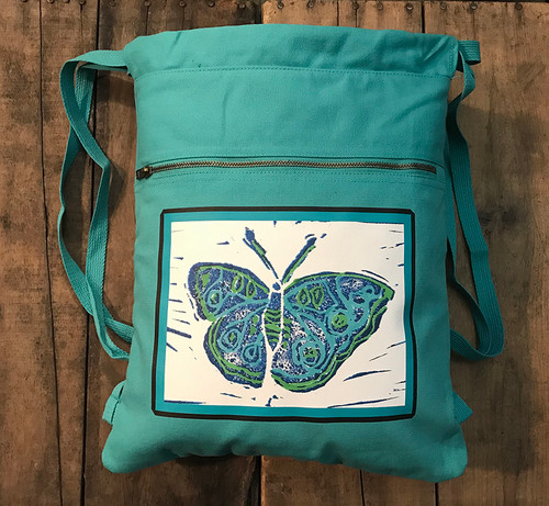 Blue Butterfly (Block Print) Cotton Canvas Boho Cinch Style Backpack