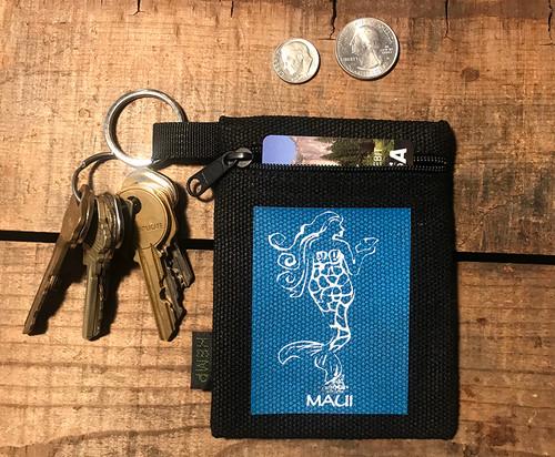 Mermaid (Block Print) Maui Hawaii Hemp Key Coin Purse Pouch