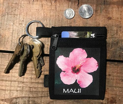 Hibiscus Maui Hawaii Hemp Key Coin Purse Pouch