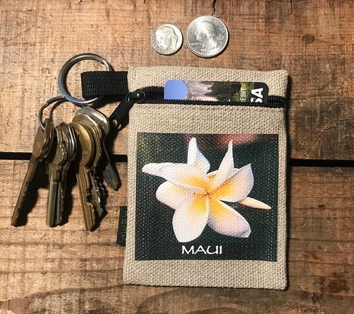 Plumeria Maui Hawaii Hemp Key Coin Purse Pouch