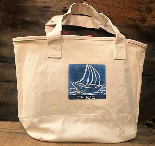 Sailboat Tahoe (Block Print) Cotton Canvas Wine/Growler/Picnic Tote Bag