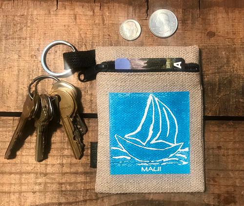 Sailboat (block print) Hemp Key Coin Purse Pouch
