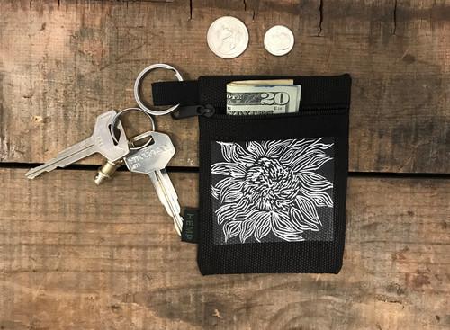 Black Woodcut Sunflower Hemp Key Coin Purse/Pouch