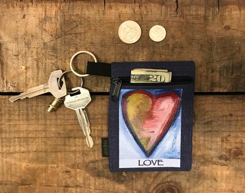 Espiritu de la tierra Espiritu del mar (Spirit of the land, spirit of the sea) Heart Hemp Key Coin Purse/Pouch