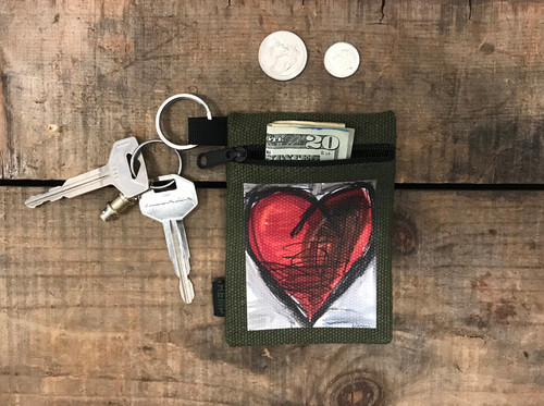 Falling into ecstasy Heart Hemp Key Coin Purse