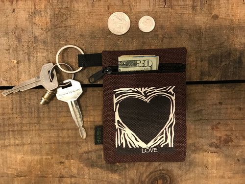 Primal Love Heart Hemp Key Coin Purse