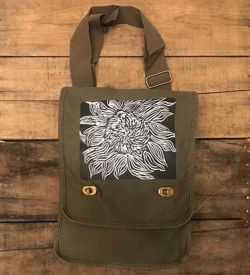 Black Sunflower Woodcut Field/Messenger Bag