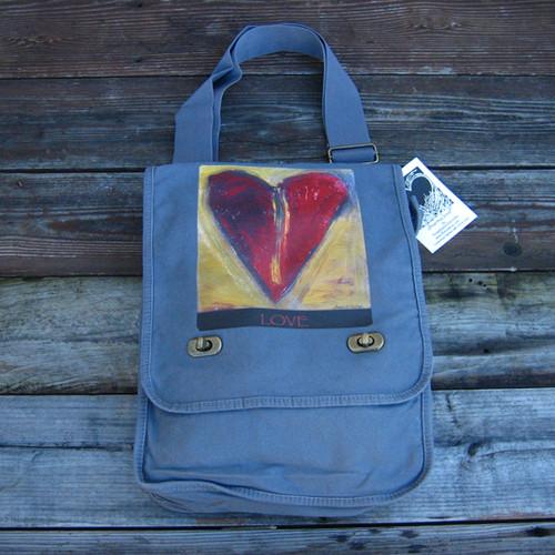 Sacred Love Heart Cotton Canvas Field/Messenger Bag