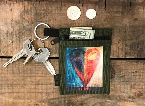 Night and Day Heart Hemp Key Coin Purse