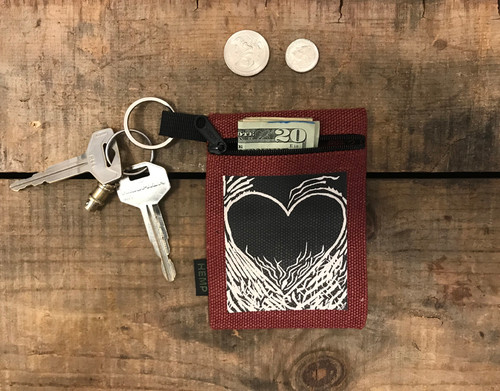 Flaming Heart of Love Hemp Key Coin Purse