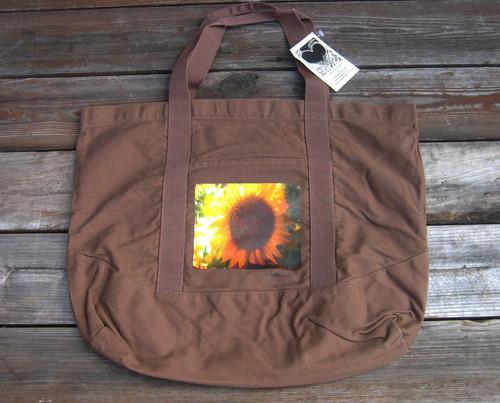 Sunflower Cotton Canvas Beach/Market Tote Bag