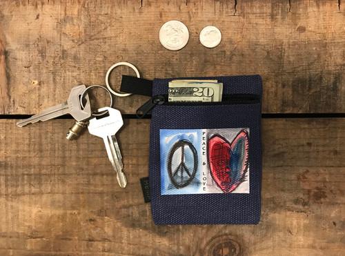 Peace & Love Hemp Key Coin Purse/Pouch