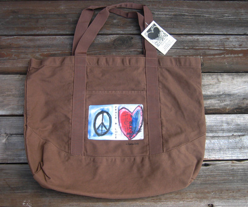 Peace & Love beach/market tote