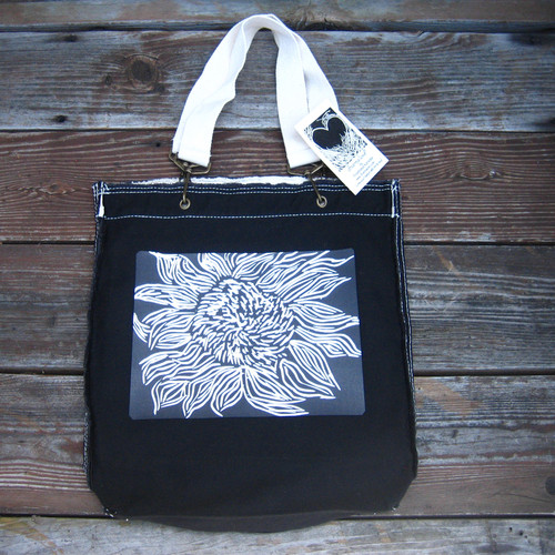 Black Sunflower (woodcut) Cotton Girly Tote/Purse